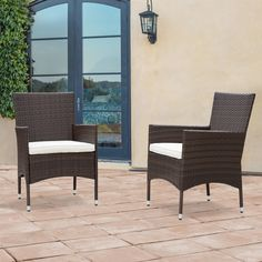 Corvus Melfi Brown Wicker Patio Chairs with Cushions