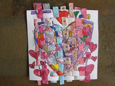 heart weaving with scrap-booking paper.