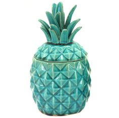 Large Turquoise Sofie Pineapple Container - Ceramic Home - on Temple & Webster today