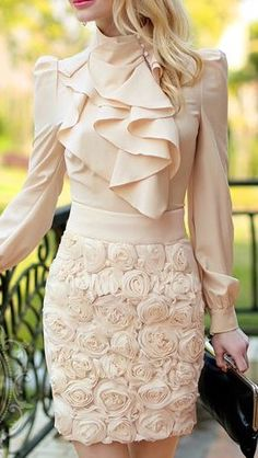 Gorgeous blouse and mini skirt! Women's work fashion Womens Fashion For Work, Work Fashion, Women's Fashion, Fashion Trends, Dress Skirt, Dress Up, Lace Skirt, Sheath Dress, Lace Evening Gowns