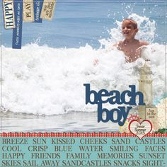 Using an oldie but a goodie from Webster's Pages....Yacht Club in digital format.  Scrapbook layout beach boy large photo