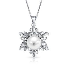Bling Jewelry 8mm Simulated Pearl CZ Snowflake Necklace Rhodium Plated *** Want additional info? Click on the image.