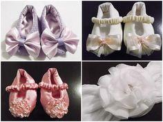 Kit com sapatinhos de bebê em piquet, fustão ou cetim forrados e estruturados com manta resinada, com acabamento perfeito, sem costura aparente e detalhe de laço ou flor.