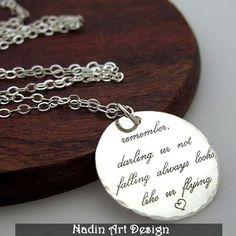 Sterling Silber Bettelkette / Inspirierende Kette von NadinArtDesign auf DaWanda.com