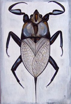 Bug Insect Animal Nature Original Drawing Acrylic Painting Watercolor Ink Art Grey Black Gold White Contemporary Art