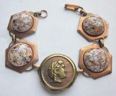 Vintage Classical Head Button 1980-1860 Vintage Copper Link Ceramic Button Bracelet. Repurposed Jewelry 400B