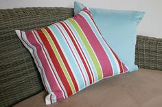 Bright Striped 16 Cushion Cover Plain Back by BlossomvioletCrafts