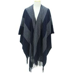 Each grey and blue-coloured poncho is hand-woven by artisans of Maquita in Quito, Ecuador. Quito Ecuador, Poncho Shawl, Cloudy Day, Fringes, Hand Weaving, Chill, Kimono Top, Cozy, Blue
