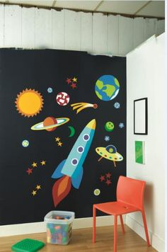 Space Wallpaper Mural for Kids Room Space Wall Murals for Kids Bedroom Home Decor Space Theme Classroom, Classroom Decor, Bedroom Themes, Kids Bedroom, Bedroom Wall, Childrens Bedroom, Bedroom Ideas, Kids Rooms, Bedroom Decor