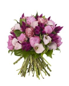 Soft Pink and Raspberry Bouquet - Angel Cheek Peonies, soft pink Calla Lilys, Deep water Roses and Purple Celosia