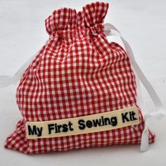"""Red Gingham"" My First Sewing Kit"