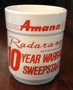 Amana Radarange Microwave Oven Warranty Sweepstakes Ceramic Mug / Cup in Collectibles | eBay Sold $16.99