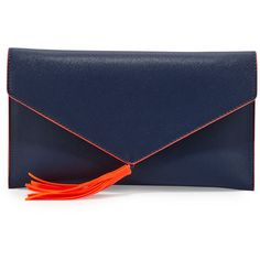 Neiman Marcus Neon Contrast Envelope Clutch Bag (£13) ❤ liked on Polyvore featuring bags, handbags, clutches, navy, faux-leather handbags, tassel handbags, neon clutches, chain strap purse and neon envelope clutch