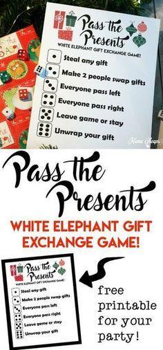 Pass the Presents White Elephant Gift Exchange Game FREE PRINTABLE | Mama Cheaps®