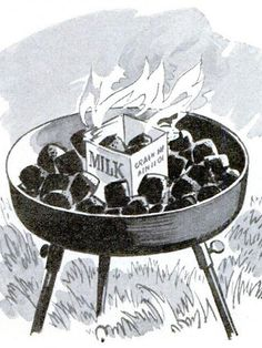 Use a cardboard milk carton to start charcoal for a grill, we said in May 1960. Cut off the top and stack the coals inside. The wax-coated carton will produce a hot flame around them.   - PopularMechanics.com