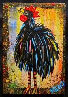 Crazy Eyed Rooster Chicken Painting Maine Abstract Folk Art Outsider Coastwalker | eBay