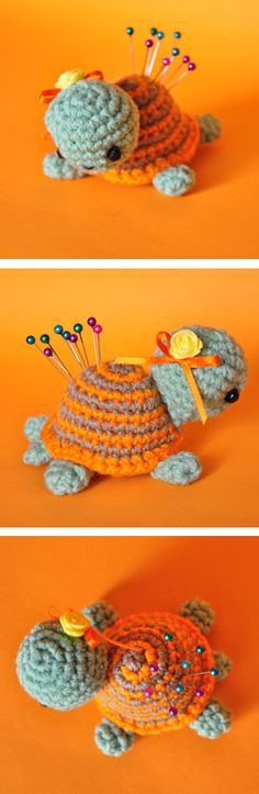 Tortuga alfiletero. Free pattern - Heather Tucker when you finally figure out how to crochet or knit, I'm gonna need one of these