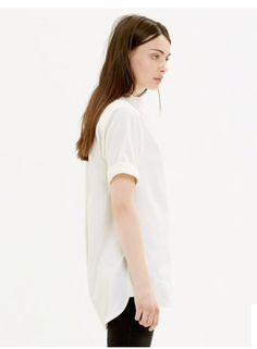 d8cbf6e411748a Madewell collarless tunic in pure White dress Cream Blouson XS Short Sleeve  1030