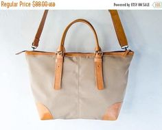 SUMMER SALES Leather and canvas shoulder Bag with should