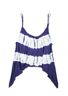 Take a bite out of the tie-dye trend with this sharkbite tank. Totally boho and breezy, you'll want to wear this all day every day.