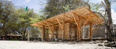 It took four weeks for The Scarcity and Creativity Studio to acquire the commission, design and build this bamboo shelter.