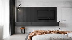 Pearl copper on Behance Tv In Bedroom, Master Room, Closet Bedroom, Bedroom Inspo, Diy Bedroom Decor, Home Decor, Tv Wall Design, House Design, Interior Architecture
