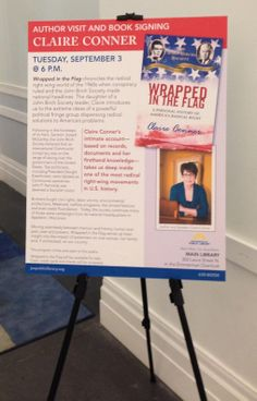 The public library in Jacksonville FL invited me to talk about my book in early September. To publicize the event, the team created this wonderful poster. Don't forget to check your library for Wrapped in the Flag.