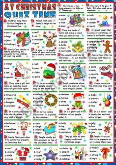Students read the sentences and choose the right option out of four. THE KEY IS INCLUDED. I hope you like it and find it useful. Thanks so much for all your nice comments. Have a wonderful Thursday. Office Christmas Party, Christmas Party Games, Christmas Activities, Christmas Printables, Christmas Traditions, Christmas Quiz For Kids, Halloween Party, Christmas Puzzle, Family Christmas
