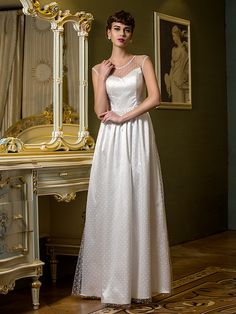 Lanting Bride® Sheath / Column Petite / Plus Sizes Wedding Dress Floor-length Scoop Tulle with - USD $69.99