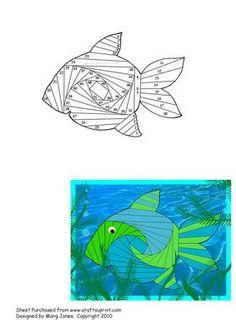 Fish Iris Folding Pattern on Craftsuprint designed by Margaret Jones - Friendly…