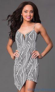 Buy Short Spaghetti Strap Print Dress at SimplyDresses