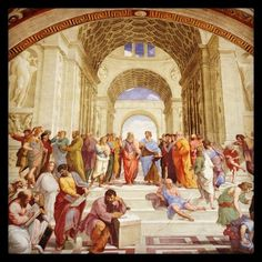 Rome sightseeing: Raphaels famous fresco The School of Athens in the Raphael Rooms of the Vatican Museums #travel #italy #rome #vaticancity #unesco #raphael #museum #renaissance #art