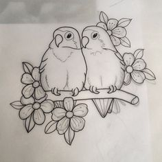 New Snap Shots Fabric painting animals Style , Pencil Art Drawings, Art Drawings Sketches, Bird Drawings, Easy Drawings, Sketch Drawing, Love Birds Drawing, Bird Sketch, Drawings To Trace, Easy Animal Drawings