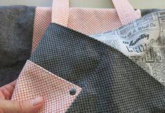 Tote bag - Noodlehead pattern - Front pocket and rivet