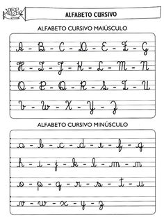 Alfabeto manuscrito - letra cursiva-706001