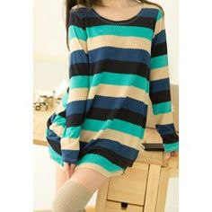 $6.62 Casual Style Loose-Fitting Wave Stripe Long Sleeve Cotton Blend Long T-Shirt For Women