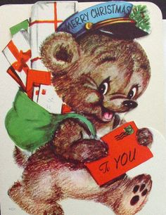 Marjorie Cooper Xmas Greeting Card Cute Bear Mailman Christmas Mail, Merry Christmas To You, Vintage Christmas Cards, Christmas Ornaments, Xmas Greeting Cards, Vintage Greeting Cards, Bear Images, Vintage Birds, Cute Bears