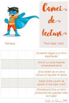 Carnet de lectura nivel SÚPER CRACK del blog Aula de Elena. Descargable gratis.