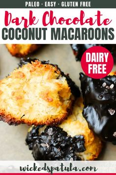 Salted Chocolate Macaroons - I believe these macaroons will surely be better than store-bought versions. Homemade is always better. Chocolate Coconut Macaroons, Salted Chocolate, Homemade Chocolate, Healthy Chocolate, Chocolate Desserts, Best Gluten Free Recipes, Paleo Recipes Easy, Macaroon Recipes, Clean Eating Snacks