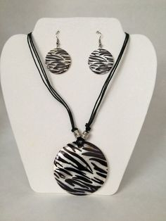 Zebra Design Necklace and Earring Set