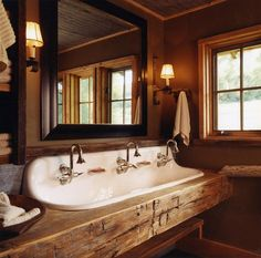 Traditional Home Rustic Lake House Bathroom Colors Design, Pictures, Remodel, Decor and Ideas - page 2 - A Interior Design Rustic Bathroom Sinks, Lake House Bathroom, Barn Bathroom, Cabin Bathrooms, Rustic Bathroom Designs, Master Bathroom, Bathroom Ideas, Bathroom Furniture, Eclectic Bathroom