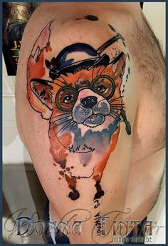 Watercolor smart fox by www.donna-tinta.de