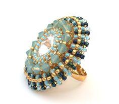 Ring Beaded Swarovski Crystal Cocktail Ring by vantageJewellery, £25.00