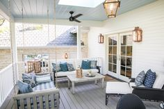 Before & After Outdoor Renovations of the 2018 Southern Living Idea House Southern Living Homes, Concrete Patio, Porch Swing, Outdoor Furniture, Outdoor Decor, Fixer Upper, Outdoor Living, New Homes, Patio Ideas