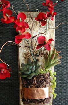 Natural Barn Wood with Bark Red Orchid Succulent by BarnwoodBlooms