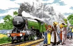 People - Flying Scotsman - All Our Yesterdays Cross Stitch Kit by Faye Whittaker