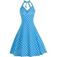 Lace Up Halter A Line Polka Dot Dress ($16) ❤ liked on Polyvore featuring dresses, sky blue dress, blue halter top, blue dress, laced up dress and blue halter dress