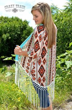 Beautiful light weight cardigan by:crazy train cowgirl western wear with fringe Cowgirl Western Wear, Cowgirl Style, Cowgirl Fashion, Gypsy Cowgirl, Western Chic, Boho Gypsy, Plus Size Outfits, Trendy Outfits, Cute Outfits