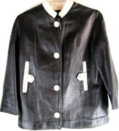 Women Leather Jacket Vtg Size Small Black White.  SSS 91 #Unbranded #BasicJacket