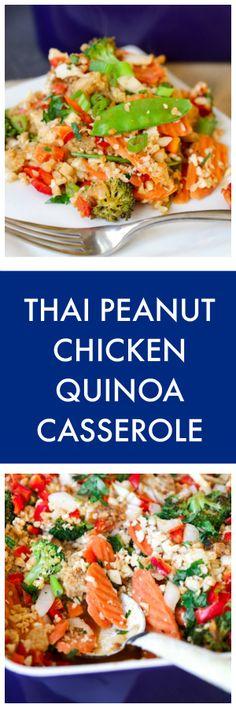 Thai Peanut Chicken Quinoa Casserole Healthy Chicken Recipes, Real Food Recipes, Great Recipes, Easy Recipes, Amazing Recipes, Asian Recipes, Favorite Recipes, Delicious Dinner Recipes, Delicious Food